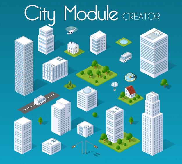 Isometrica città modulo impostato Vettore Premium