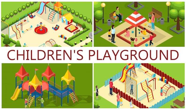 Isometrica composizione parco giochi per bambini con genitori bambini giostre tubi scivoli altalene altalena sandbox panchine colorate Vettore Premium