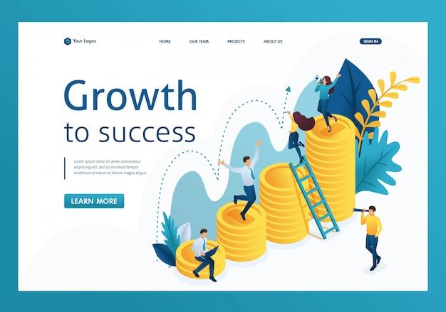 Isometrica della crescita di successo degli investimenti, i giovani imprenditori stanno esplorando la pagina di destinazione degli indicatori Vettore Premium