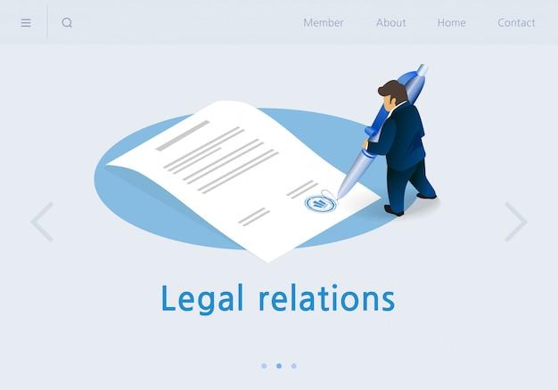 Isometrica delle relazioni legali dell'insegna dell'insegna piana. Vettore Premium