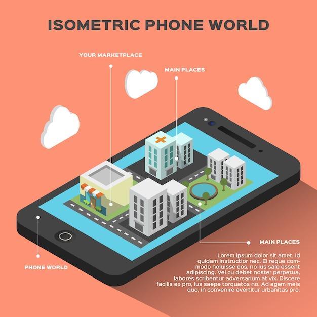 Isometrica infografica smart phone Vettore gratuito
