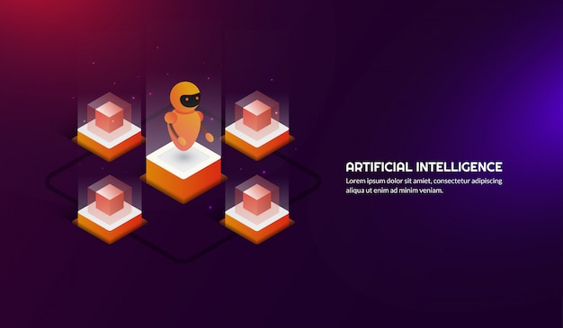 Isometrica intelligenza artificiale futuristica Vettore Premium