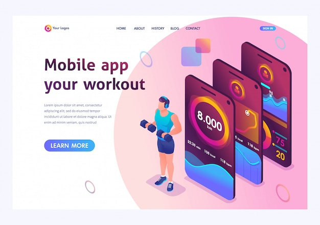 Isometrica l'app mobile tiene traccia dell'allenamento di una persona. allenamento atletico, allenamento con i pesi. Vettore Premium