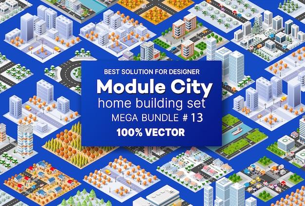 Isometrica set case di architettura Vettore Premium