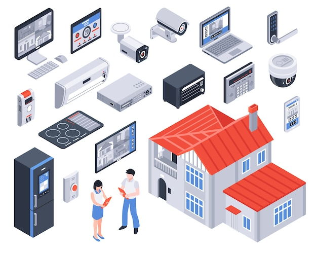 Isometrica smart home icon set Vettore gratuito