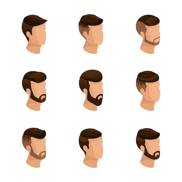Isometrici popolari, acconciature maschili, stile hipster. posa, barba, baffi. acconciatura moderna ed elegante, giovani, business della moda, isolato Vettore Premium