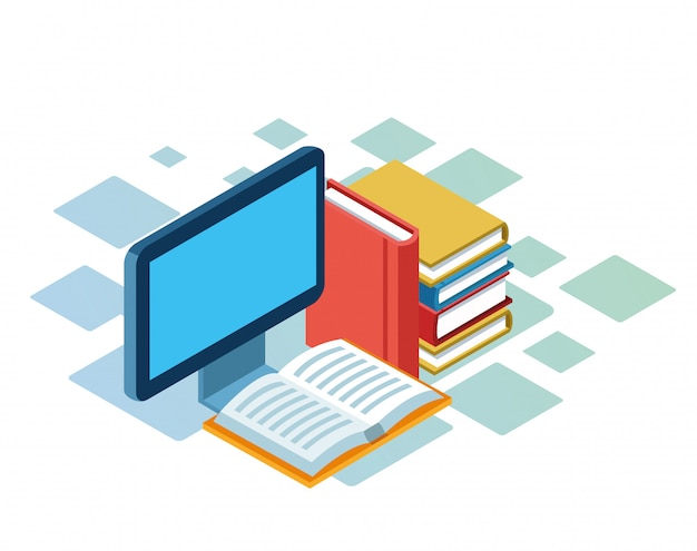Isometrico di computer e libri su sfondo bianco Vettore Premium