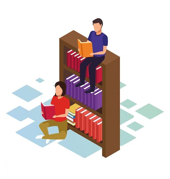 Isometrico di uomo seduto sullo scaffale e donna reding un libro su sfondo bianco Vettore Premium