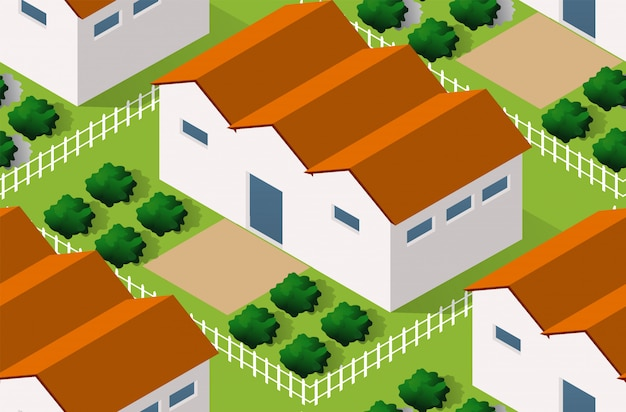Isometrics village seamless pattern Vettore Premium