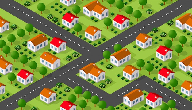 Isometrics villaggio seamless pattern Vettore Premium