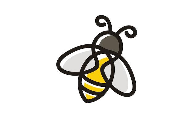 Ispirazione al design del logo di line art bee Vettore Premium