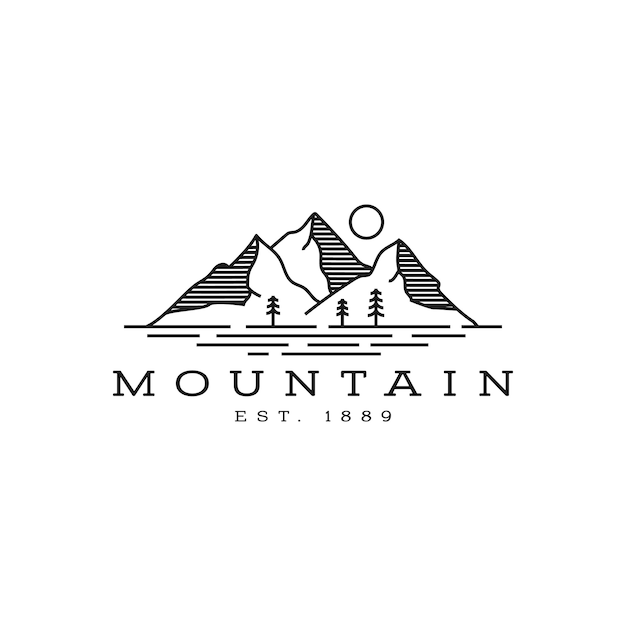 Ispirazione al design del logo di montagna e mare Vettore Premium
