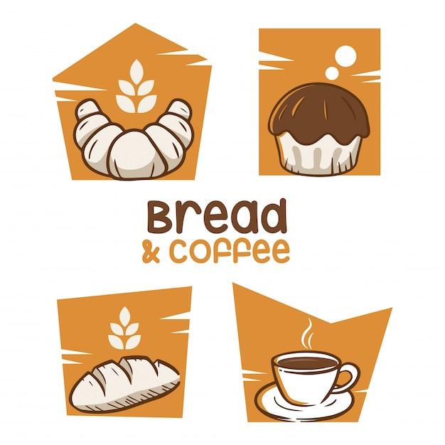 Ispirazione al design del logo pane e caffè Vettore Premium
