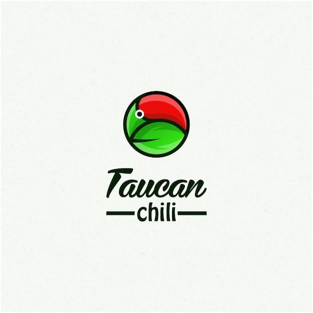 Ispirazione del design del logo chili di taucan Vettore Premium