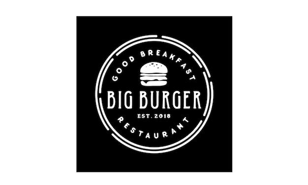Ispirazione di design logo burger stamp Vettore Premium