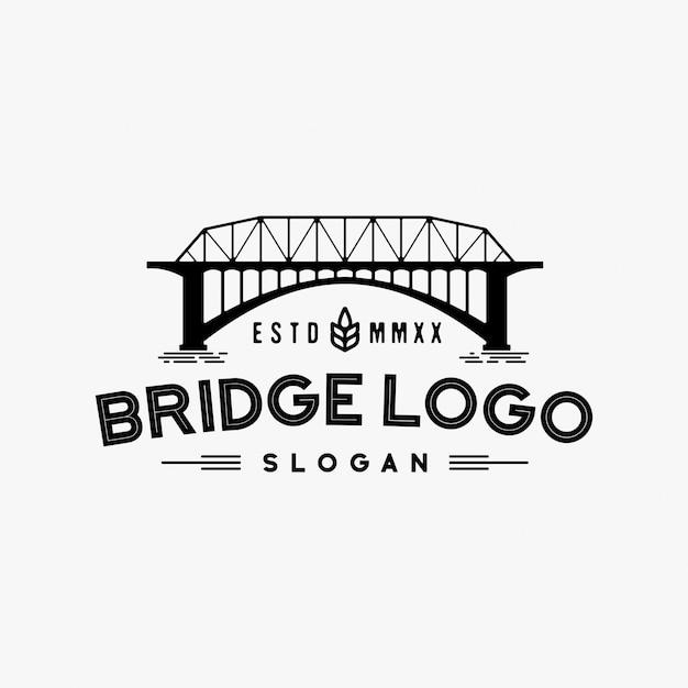 Ispirazione di design retrò logo bridge Vettore Premium