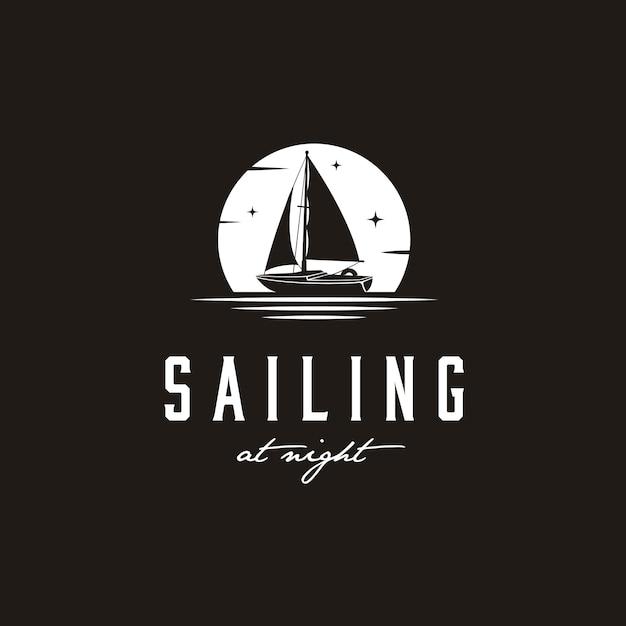 Ispirazione di design semplice logo silhouette yacht a vela Vettore Premium