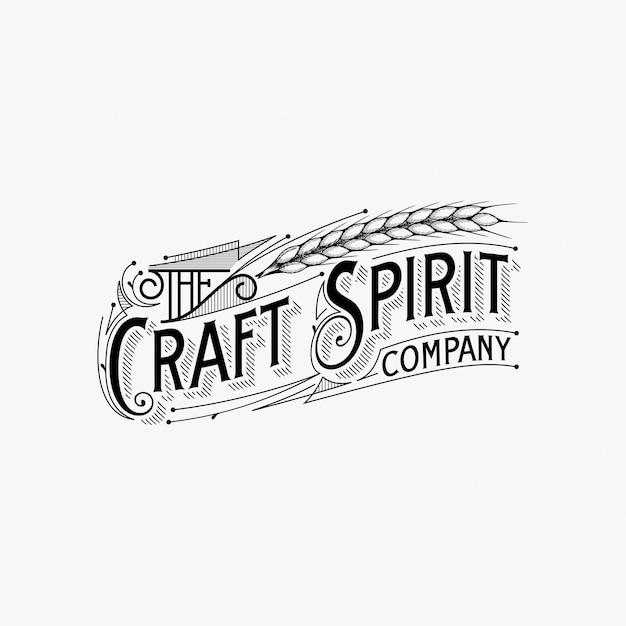 Ispirazione di progettazione di logo di tipografia dell'annata Vettore Premium