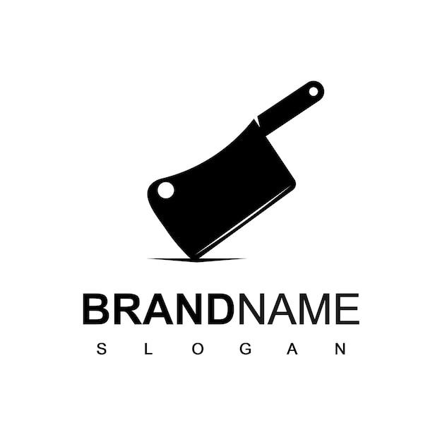 Ispirazione logo design coltello da macellaio Vettore Premium
