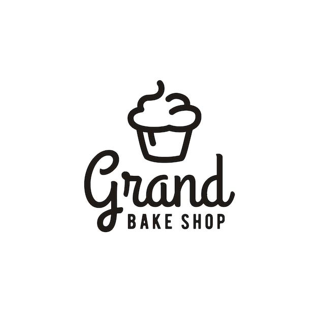 Ispirazione minimalista di progettazione di logo del forno del cupcake Vettore Premium