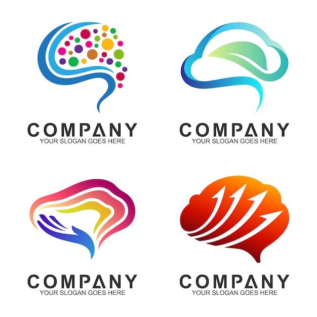 Ispirazione moderna per il design del logo del cervello Vettore Premium