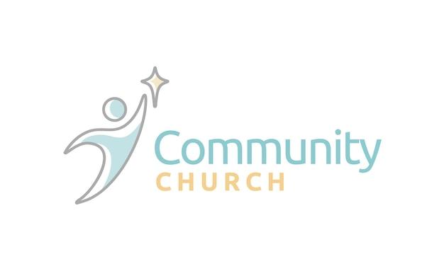 Ispirazione per il design del logo di church church Vettore Premium
