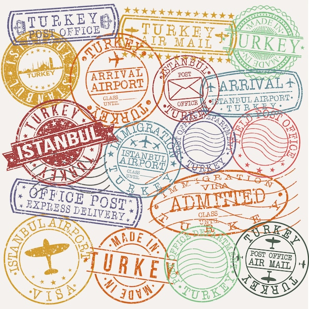 Istanbul turchia set di disegni di francobolli per viaggi e affari Vettore Premium