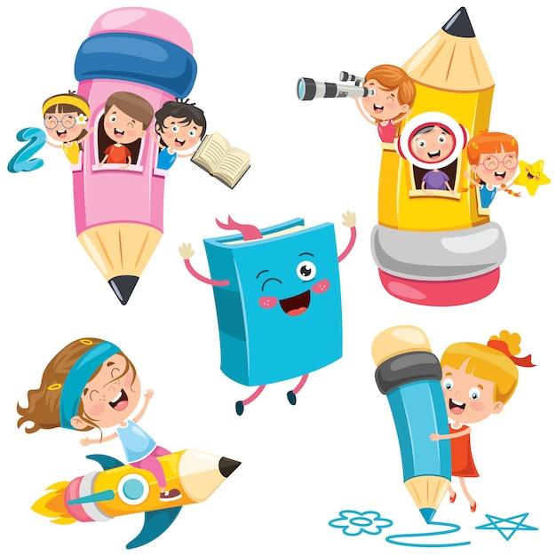 Istruzione con bambini divertenti Vettore Premium