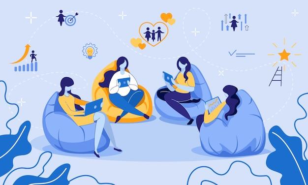 Istruzione, e-learning, formazione a distanza per le donne Vettore Premium