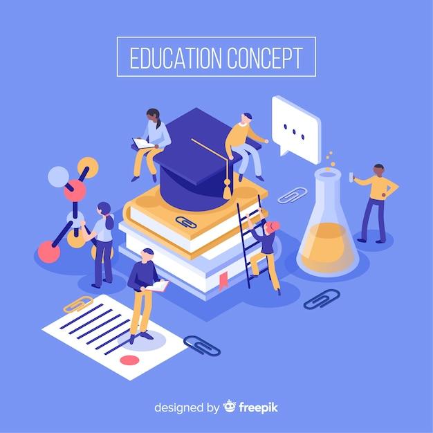 Istruzione isometrica sullo sfondo Vettore gratuito