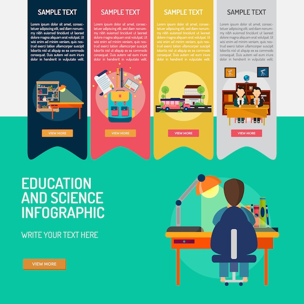 Istruzione modello infografica Vettore gratuito