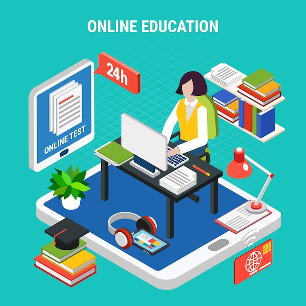 Istruzione online con l'illustrazione isometrica di vettore di concetto 3d dei vari apparecchi elettronici Vettore gratuito