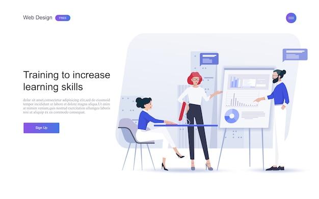 Istruzione per sito web e modello di landing page. istruzione, formazione e corsi online, apprendimento, Vettore Premium
