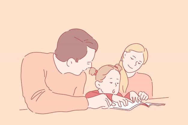 Istruzione prescolare, genitorialità, infanzia. una bambina impara a leggere o scrivere con i giovani genitori. la madre e il padre felici e sorridenti insegnano alla loro figlia a casa. appartamento semplice Vettore Premium