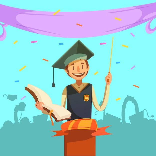 Istruzione retrò dei cartoni animati Vettore gratuito