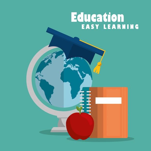 Istruzione set di icone di facile apprendimento Vettore gratuito