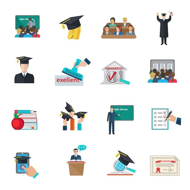 Istruzione superiore e laurea con set di mantelli e cappellini accademici Vettore gratuito
