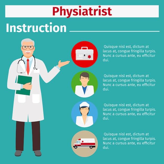 Istruzioni per l'attrezzatura medica per fisiatra Vettore Premium