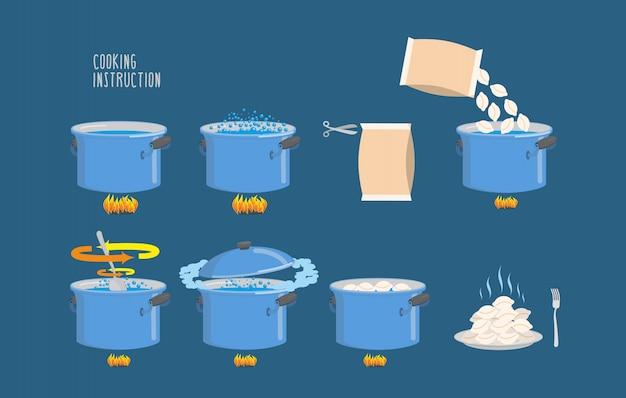 Istruzioni per la cottura. infografica di gnocchi di cottura. Vettore Premium