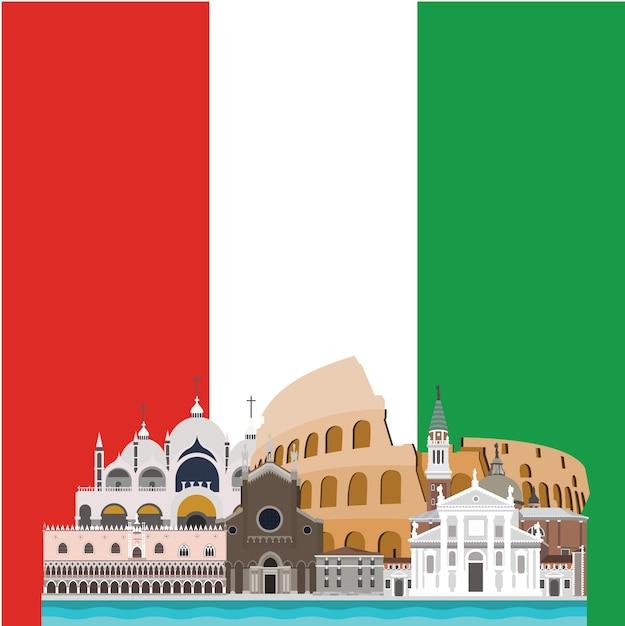 Italia background design Vettore gratuito