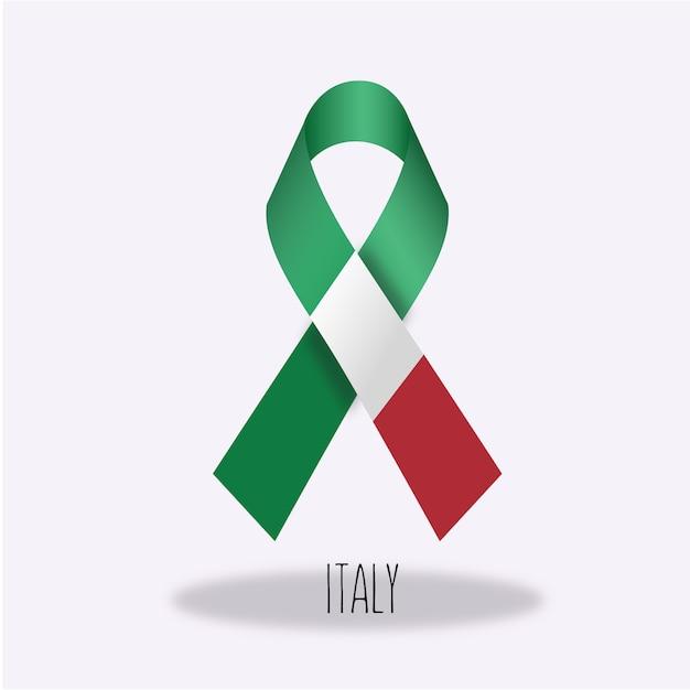 Italia design nastro bandiera Vettore gratuito