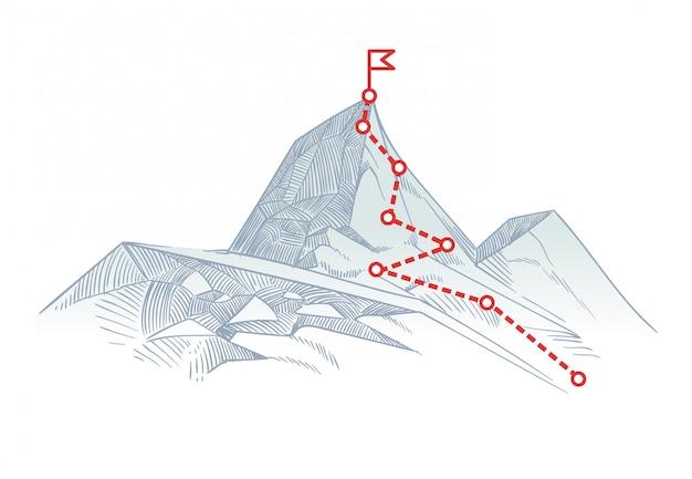 Itinerario di alpinismo in vetta. percorso di viaggio di affari in corso al concetto di vettore di successo Vettore Premium