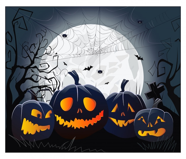 Jack o lanterne e ragnatele con ragni contro il chiaro di luna Vettore gratuito