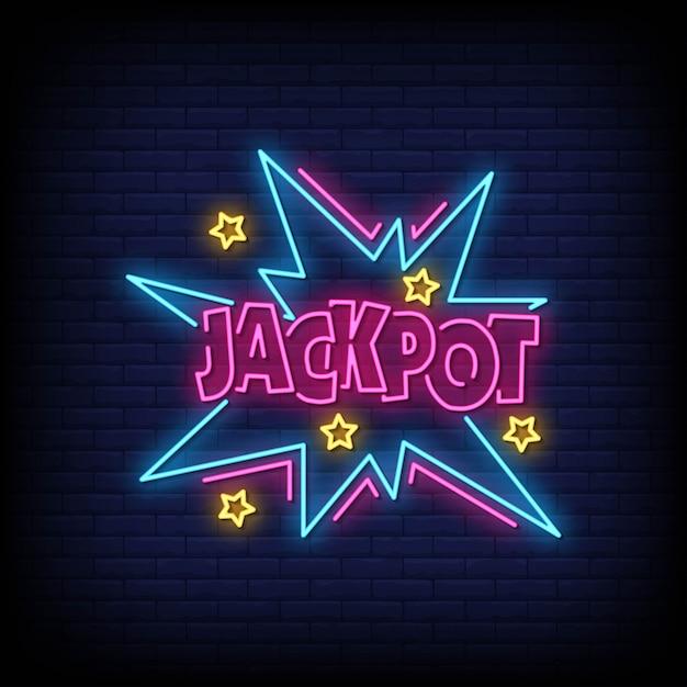 Jackpot neon signs style text Vettore Premium