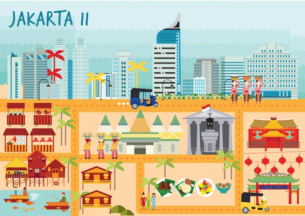 Jakarta building pack Vettore Premium