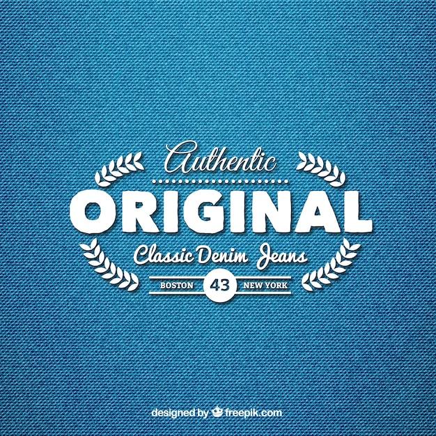 Jeans denim classico logo Vettore gratuito