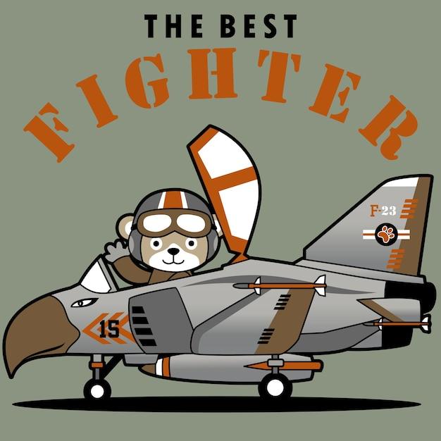 Jet combattente con pilota carino cartone animato scaricare