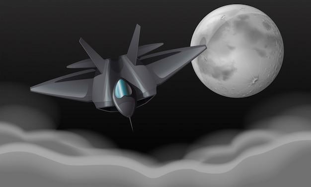 Jet di combattimento battenti di notte Vettore gratuito