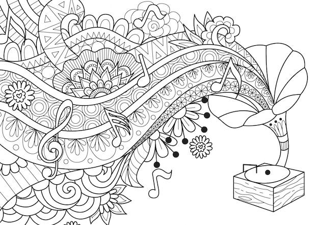 Jukebox di musica disegnata a mano Vettore Premium