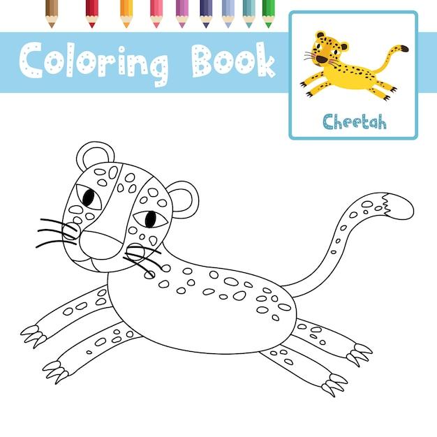 Jumping cheetah da colorare Vettore Premium